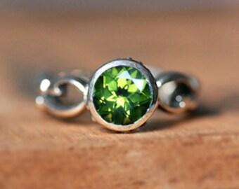 Sterling silver peridot ring silver, August birthstone ring, infinity ring, birthday ring, green stone ring, artisan rings, Wrought custom