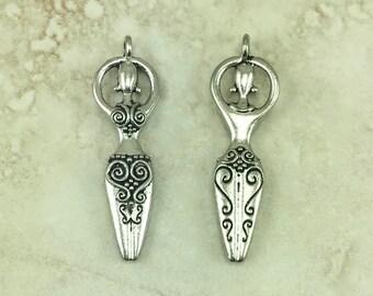 Spiral-Göttin-Wirbel-Anhänger > Zen-Doodle Mutter weiblich göttlich weiblichen verzierten - amerikanischer Silber Zinn Blei