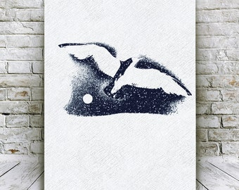 Seagull Wall Art, Seagull Printable, Seagull Print, Bird Printable, Bird Print, Nautical Drawing, Bird Flying Wall Art, Printable Art