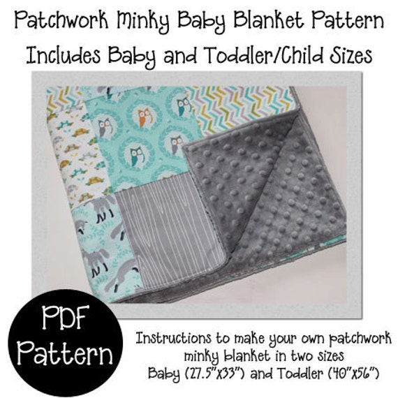 Items similar to Patchwork Minky Baby Blanket PDF pattern- How to ...