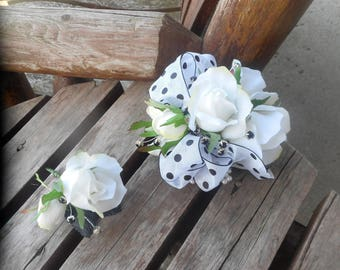 White Rose and Polka Dot Wrist Corsage and Boutonniere Combination / Wedding Corsage and Boutonniere / Prom Corsage and Boutonniere