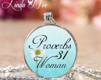 Christian Jewelry, Proverbs 31 Woman, Christian Necklace, Christian Pendant, Proverbs Woman, Religious Jewelry, Bible Scripture, Quote JCH8