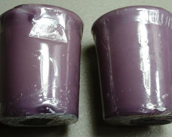 Votive candles 1 pack with 2 purple unscented candles.