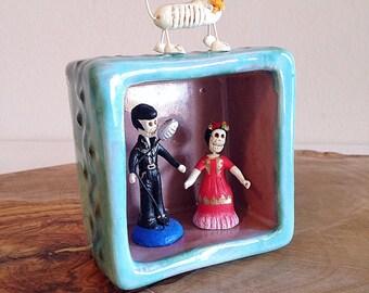 Handmade Ceramic Pottery Nicho Box or Vignette Southwest Colors