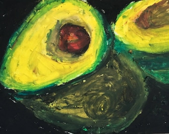 Original ACEO Oil Pastel Painting: Avocado