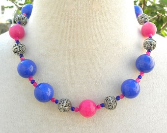 Periwinkle Purple & Hot Pink Chunky Choker, Jade Beads, Wear Back to Front, Necklace by SandraDesigns
