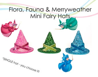 Flora Fauna and Merryweather MINI Fairy Hats Sleeping Beauty Good Fairies Mini Size Hats SINGLE