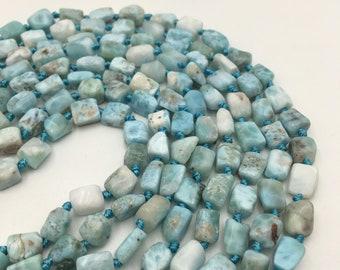 Natural Larimar Irregular Tube Shape Smooth Gemstone Loose Beads Size Approx 5x8mm