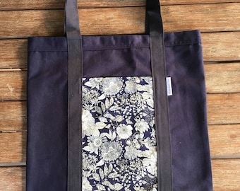 Blue Floral Flower Shopping Tote Bag Book Library School Market Grocery Bag