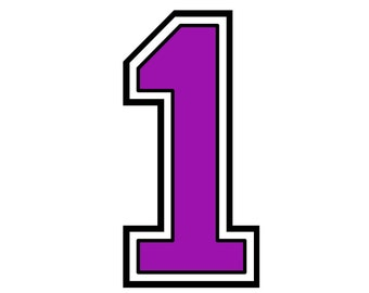 Iron on purple number 1 for Tshirt transfer INSTANT DOWNLOADABLE printable