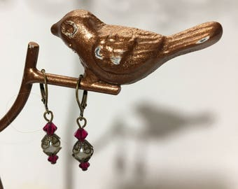 vintage gold and red stone art nouveau style earring