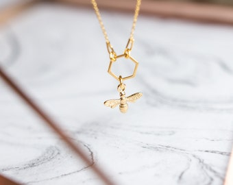 Hexagon Bee Necklace | Honey Bee Gold Necklace | 24k Gold Honeycomb Necklace | Hexagon Necklace | Honeycomb Jewelry |