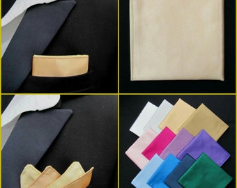 Gold Pocket Square/Handkerchief/Hanky/Kerchief Faux Silk. White/Cream/Pink/Purple/Red/Blue/Navy/Black