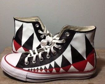 A Bathing Ape Custom Hand painted red, black and white converse.
