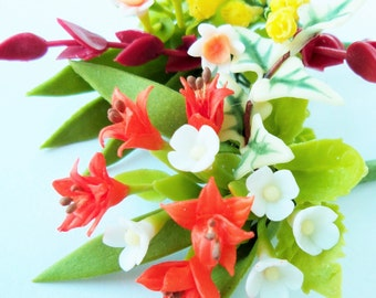 Miniature Polymer Clay Flowers Bouquet, Daffodil and Lily, Supplies for Dollhouse and Handmade Gifts 1 Bunch