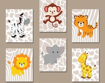 Safari JUNGLE Animals Wall Art, Jungle Animals Nursery Decor, Safari CANVAS or Print, Zoo Animal Theme, Jungle Animal Wall Decor, Set of 6