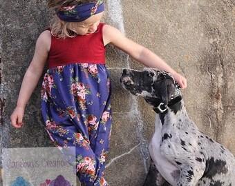 Nala romper set, floral romper, alley cat romper, turban headband