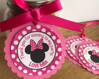 Minnie Mouse Personalised Thank You Tags - Hot Pink - Minnie Birthday party, Baby Shower, Christening