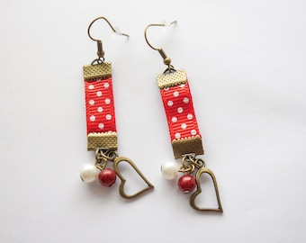 Bronze dangle earrings red and ivory