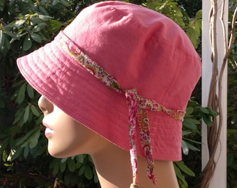 Womens Chemo Hats Cancer Hats Pink Organic Cotton Outer Shell SMALL-MEDIUM