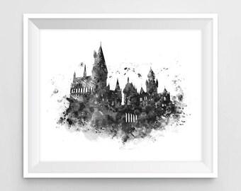 Hogwarts Castle, Art Print, Hogwarts Wall Art, illustration, Black and White, Harry Potter Print, Harry Potter Gift, Printable, Download
