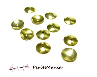 50 bead caps shell caps round smooth 10mm Golden H1984, DIY