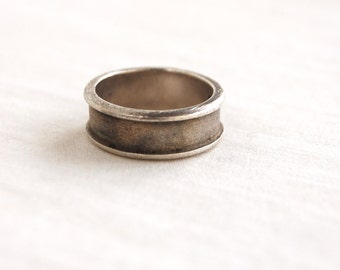 Mexican Ring Band Size 7 .25 Sterling Silver Wide Plain Channel Ring Vintage Jewelry Mexico Gift Under 20