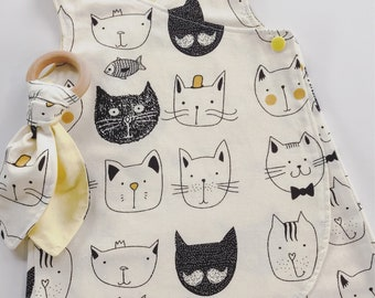 Baby dress pinafore and teether gift set 3-6m cats wrap dress