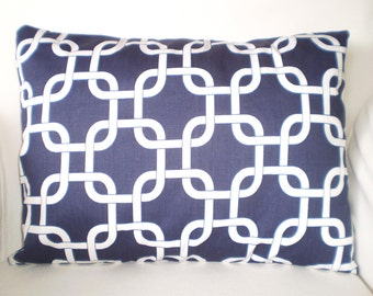 Navy Blue Lumbar Pillow Cover, Decorative Throw Pillow, Cushion Covers, Navy White Gotcha Chain Link, Couch Bed Sofa, One 12 x 16 or 12 x 18