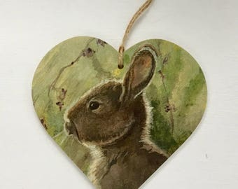 10cm decoupaged wooden hanging heart ~ Woodland Country Hare~ Countryside/Country/ Hare Rabbit/Bunny/Home Decor/Gift