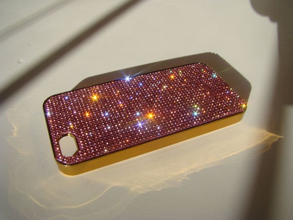 iPhone 5/5s/5se Pink Diamond Crystals on Gold-Bronze Electro Plated  Case. Velvet/Silk Pouch Bag Included, Genuine Rangsee Crystal Cases.