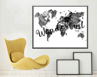 Large world map wall art world map poster purple and teal word wanderlust poster wanderlust world map print black and white world map modern map print wanderlust map gumiabroncs Choice Image
