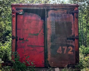 Flint Michigan photography, tractor trailer, Dort Highway, junkyard, urban decay, urban exploration, matted photo
