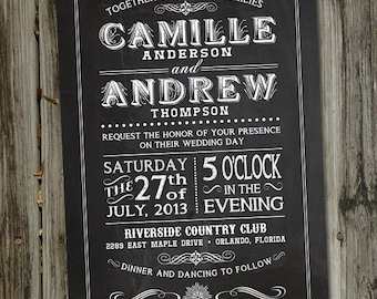 Chalkboard Wedding Invitations with RSVP card and White