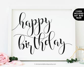 Happy Birthday Printable, Birthday Party Decorations Rustic Signs, Birthday For Her For Him, Birthday For Mom For Dad, Happy Birthday Sign