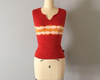 paprika red cotton top || 1990s cotton stretch crop top || tie dye top