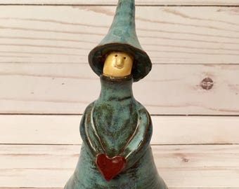 Handmade ceramic faerie, woodland elf sculpture, whimsical  forest sprite with red heart gift