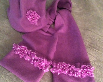 Fleece Hat and Scarf Set with Fabric Rose Trim