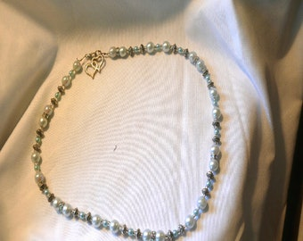 Baby Blue Glass Beads and Sparkle Necklace