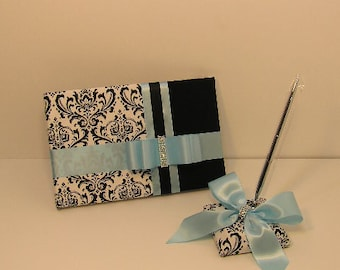 Wedding Guest Book and pen holder set Damask  -made to order ,Custom Made