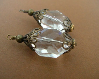 BD180 Vintage Style Stacked Antique Brass Capped Clear Crystal Pendants set of 2