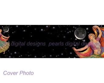Etsy Cover Photo, Gypsy Moon Dancer, instant download, blank 3360 x 840 pixels, stars and moon, swirling skirt, flowing scarf, vintage lady