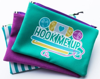 Zipper Bag, Crochet Pun, Hook Me Up, Crochet Tool Bag