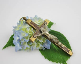 Vintage Brass Pectoral Crucifix Cross with Wood Inlay - Large Nun's Crucifix (SD588)