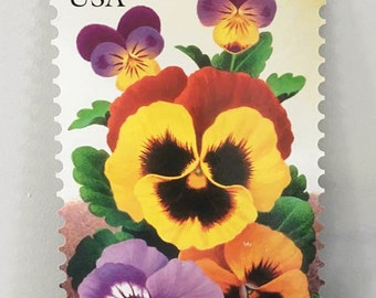 Pansy Wall Hanging / US Stamp Poster / US Postal Sign / Vintage Post Office Ad / Stamp Ad / Spring Wall Hanging