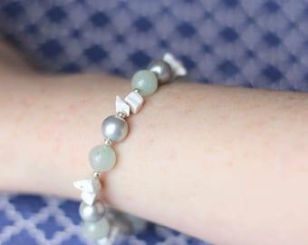 Light Green Bracelet, Green White Grey Silver Wrap Bracelet, Green Gemstone Bracelet, Mother's Day Gift, Feminine Glass Pearl Bracelet