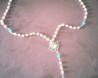 Traditional blue and pink Virgin Mary Rosary