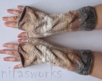 Fingerless Gloves Mittens Beige Brown Gray White wrist warmers Knit