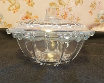 Crystal Fostoria Glass Covered Candy dish