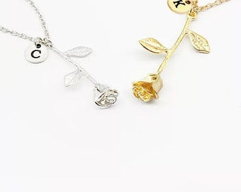 Rose Necklace with initial Rose Pendant Necklace gift for mom best selling items Personalized Necklace for women